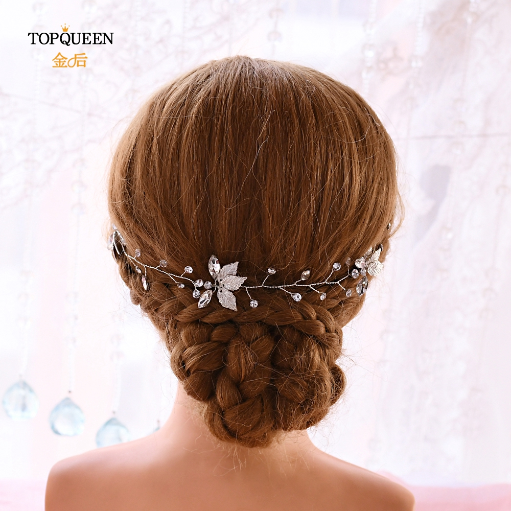 Topqueen Hp114 Wedding Hair Accessories Wedding Hairpiece Hair Band Sliver Golden Leaves Wedding Ribbon Headband Bridal Tiara Bridal Headwear Weddings Events Aliexpress