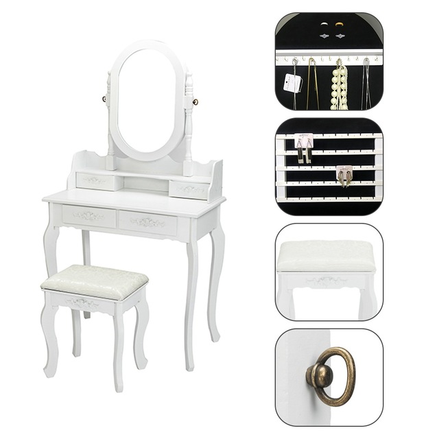 Dresser with Single Mirror Jewelry Cabinet 4 drawer Queen anne style legs White 5