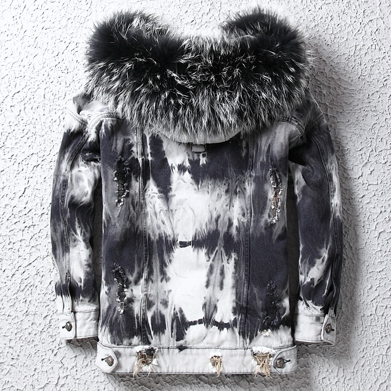 Men's Fur Coat Parka Real Raccoon Fur Collar Winter Jacket Men Wool Liner Denim Jackets Plus Size Parkas WpDD1801 KJ1409