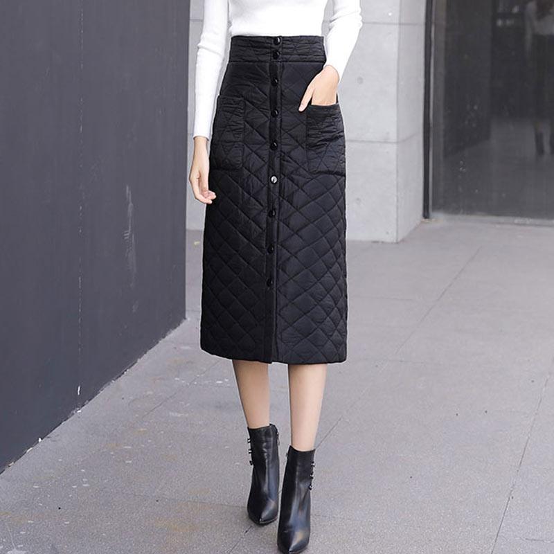 2019 Women Fashion Cotton Down Feather High Waist Skirt Girl Winter Warm Long Faldas Saia Funny Single-breasted Solid Skirts