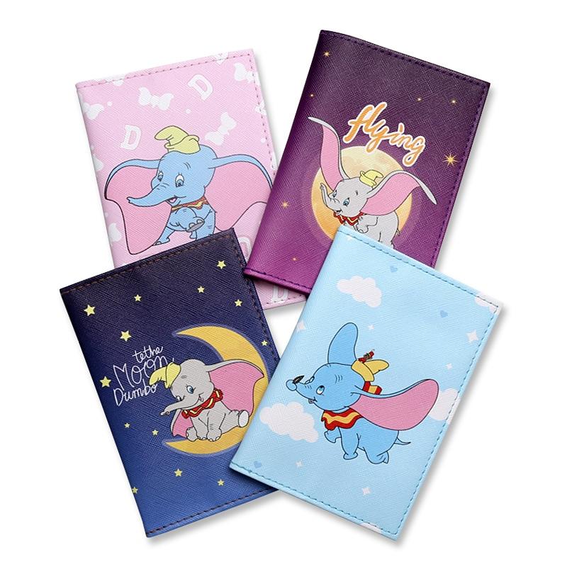 New Cartoon Dumbo Travel Passport Cover For Women/Students PU Leather Travel Passport Holder Case Card ID Holder Passport Packet