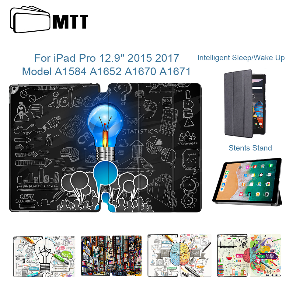 MTT Smart Cover Case For IPad Pro 12.9 Inch 2015 2017 Version Auto Sleep/Wake Ultra-Slim PU Leather Flip Folio Tablet Case Funda