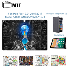 MTT Smart Cover Case For iPad Pro 12.9 inch 2015 2017 Version Auto Sleep/Wake Ultra-Slim PU Leather Flip Folio Tablet Case Funda myslc leather case for prestigio multipad grace 3257 pmt3257 4g c 7 inch tablet crystal grain pu leather folio case cover