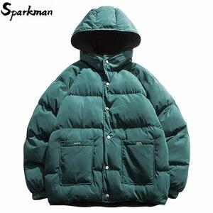 Image 1 - 2019 Streetwear Hiphop Omkeerbare Jas Parka Mannen Gewatteerde Jas Windjack Harajuku Puffer Coat Warm Hooded Uitloper Losse Nieuwe