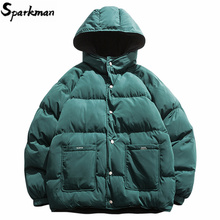 2019 streetwear hip hop reversível jaqueta parka homens acolchoado blusão harajuku puffer casaco quente com capuz outwear solto novo
