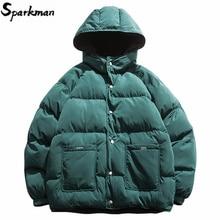 2019 уличная одежда, Двусторонняя куртка в стиле хип хоп, парка, Мужская стеганая куртка, ветровка, Harajuku, пуховое пальто, теплая верхняя одежда с капюшоном, свободная, Новинка