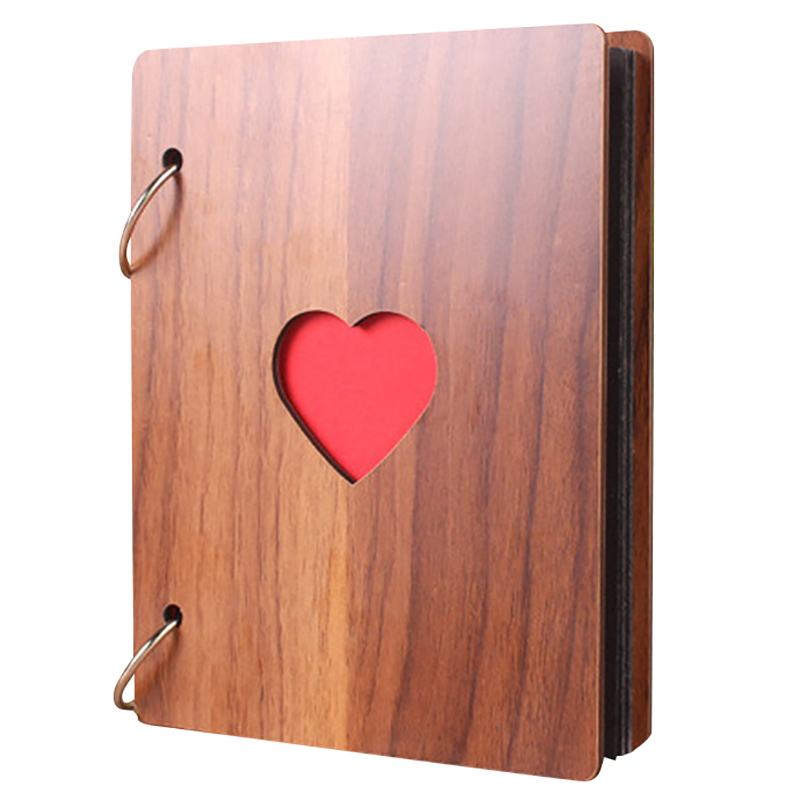 6 Inch Wooden Photo Album Baby Growth Memory Life Photo Relief Book Record Book Brown
