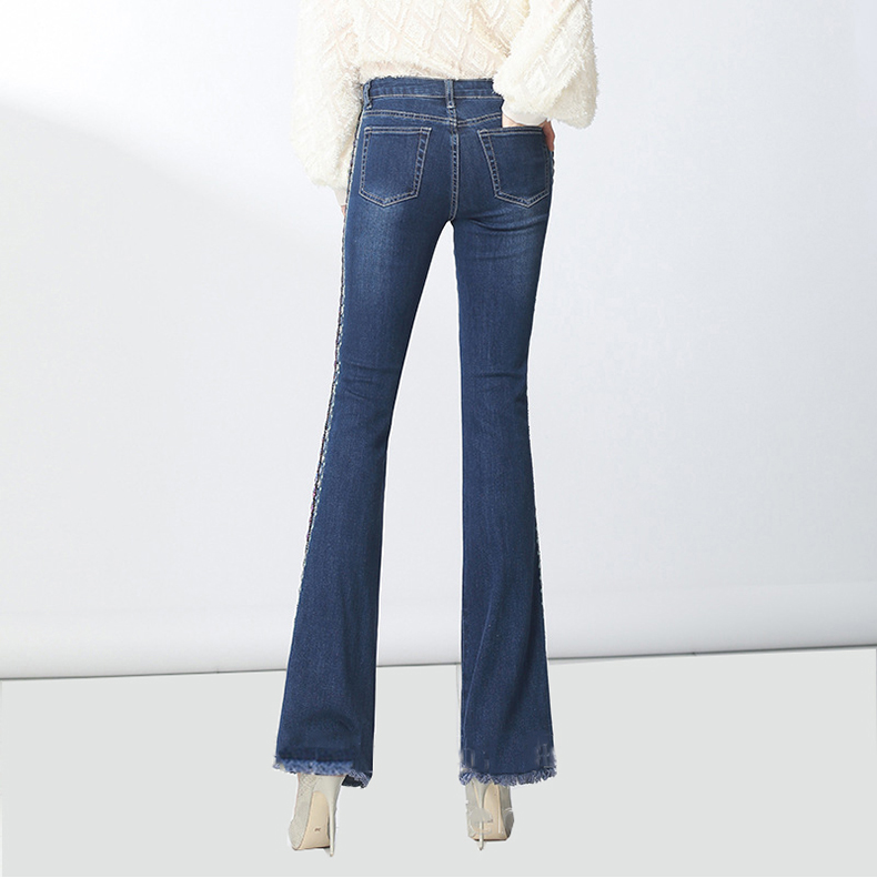 KSTUN FERZIGE Women Jeans High Waist Stretch Blue Flared Pants Side Embroidered Hand Beads Bell Bottoms Sexy Push Up Woman Trousers 36 14