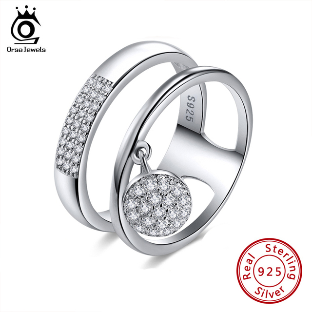 เครื่องประดับORSAของแท้100% 925เงินสเตอร์ลิงแหวนผู้หญิงAAA Cubic Zircon Paveการตั้งค่าหญิงเครื่องประดับSR54