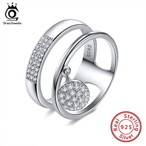 Image 1 - ORSA JEWELS 100% Genuine 925 Sterling Silver Women Rings AAA Shiny Cubic Zircon Pave Setting Female Party Jewelry SR54