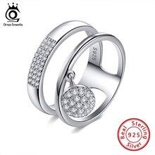 Orsa jóias 100% genuíno 925 prata esterlina feminino anéis aaa brilhante zircão cúbico pave definir feminino festa jóias sr54