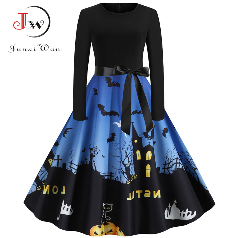 Junxi Wan Halloween Pumpkin Print Casual Long Sleeve Vintage Dress 2019 Winter Black Patchwork Elegant Party Pinup Robe Vestidos