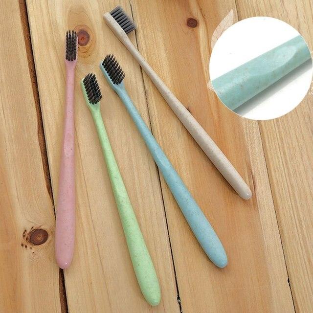 10 sztuk pszenica słoma szczoteczka do zębów czyszczenie zębów szczotka miękka szczupła bambusowy węgiel drzewny szczotka dla dorosłych dzieci szczoteczka do zębów K-866