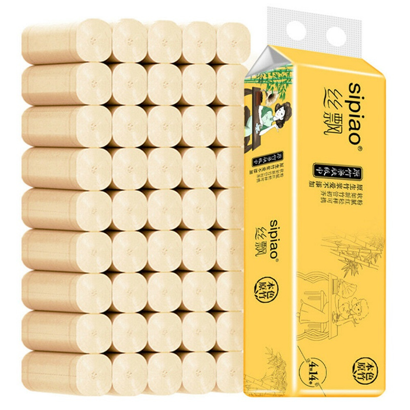 14 Rolls Natural Bamboo Pulp Toilet Paper 4 Layers Skin Friendly Bathroom Tissue Paper Hand Towel Tissues Paper Household