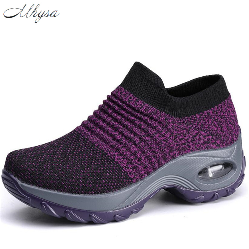 2020 New Summer Women Sneakers Fashion Breathable Mesh Casual Shoes Platform Sneakers For Women Black Sock Sneakers Shoes Woman