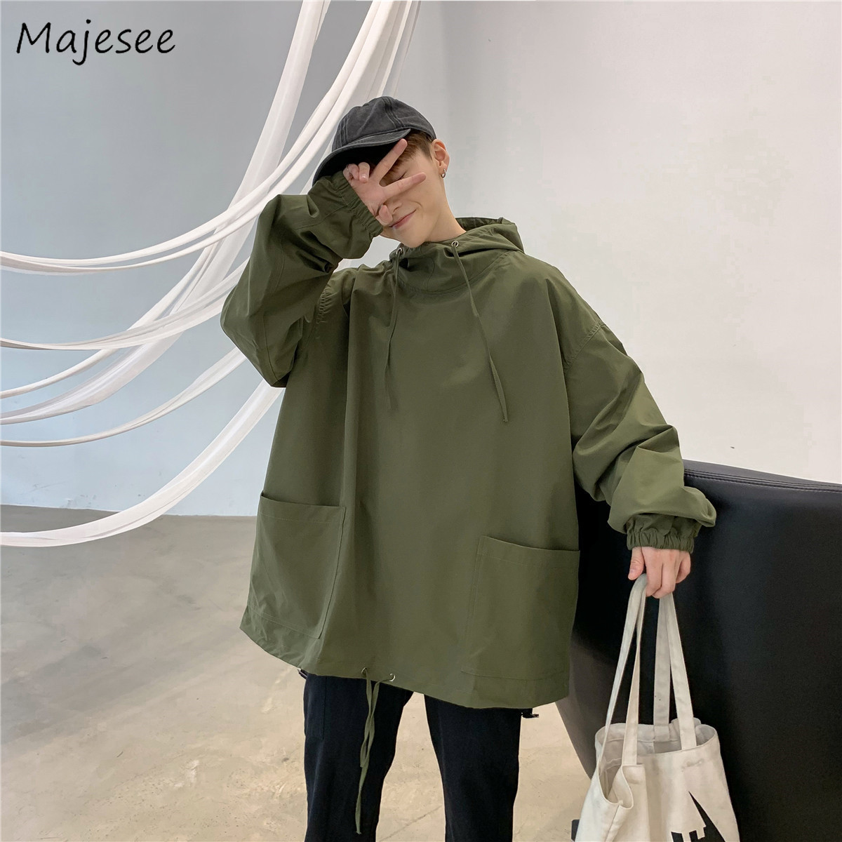 Jackets Men Solid Pullover Hooded All-match Pockets Harajuku Mens Spring Autumn Students Loose Casual Clothing Ulzzang Chic Coat
