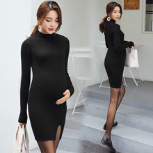 Black Knitting Maternity Dresses Fashion Tight Pregnancy Dress Autumn Winter Elastic Comfortable Clothes for Pregnant Women недорого