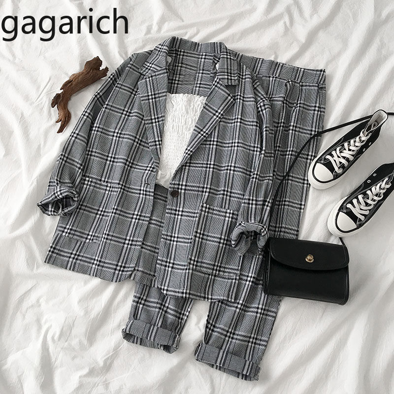 Gagarich Women Two Piece Set Fashion Autumn 2020 New Female Korean Style Long Sleeve Blazer Loose Pants Female Plaid Suit image