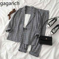 Gagarich Women Two Piece Set Fashion Autumn 2020 New Female Korean Style Long Sleeve Blazer Loose Pants Female Plaid Suit