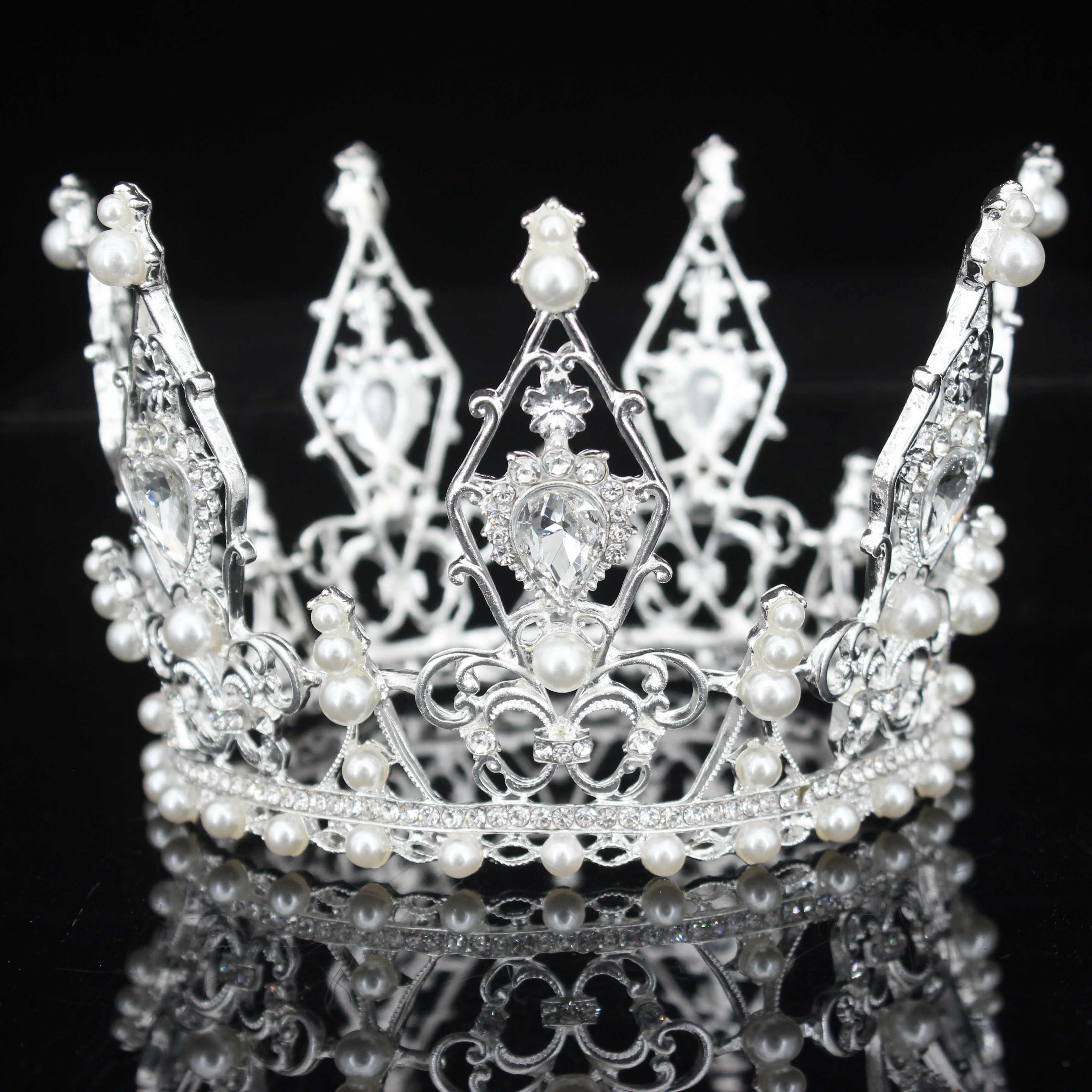 Hochzeit Braut Krone Perle Königin Prinzessin Krone Kristall Haarschmuck DeR rk