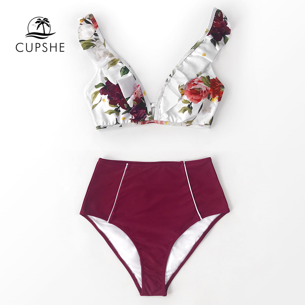 CUPSHE Floral And Red High-waisted Bikini Sets Sexy Ruffled Tank Top Swimsuit Two Pieces Swimwear Women 2020 Beach Bathing Suits