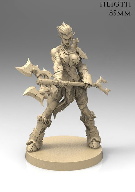 1/22 85mm  Orc Female Warrior Stand (NO BASE ) Resin Figure Model Kits Miniature Gk Unassembly Unpainted