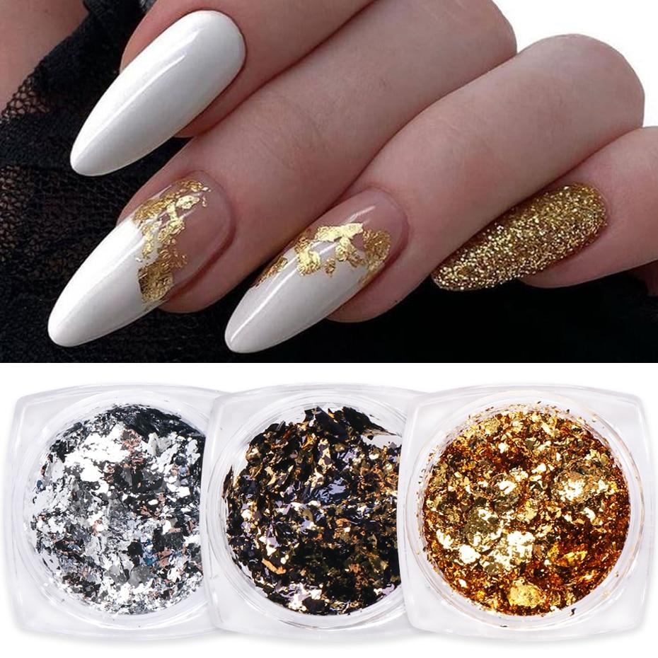 1 коробка золотых блестящих хлопьев, нестандартные алюминиевые фольгированные Блестки для ногтей, хромированная пудра, зимний маникюр, укр...