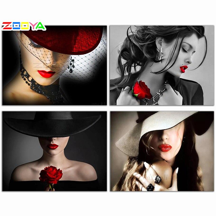 ZOOYA DIY Алмазная вышивка, портрет красивой женщины красная шляпа и красные губы алмазная живопись вышивка крестиком полная Мозаика Украшение BK441