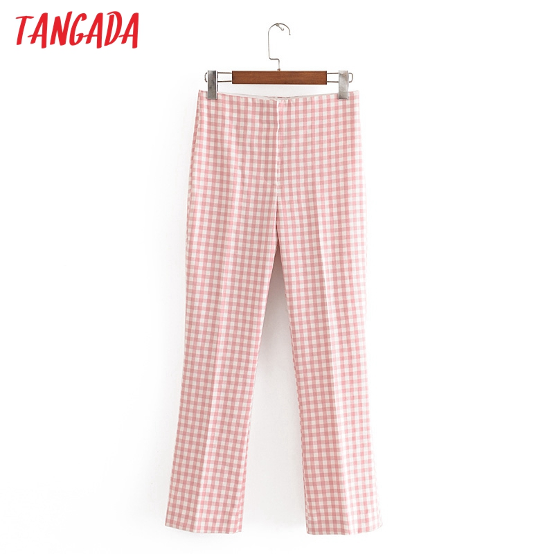 Tangada Fashion Women Pink Print Suit Pants Trousers Zipper Buttons Office Lady Pants Pantalon 3H608