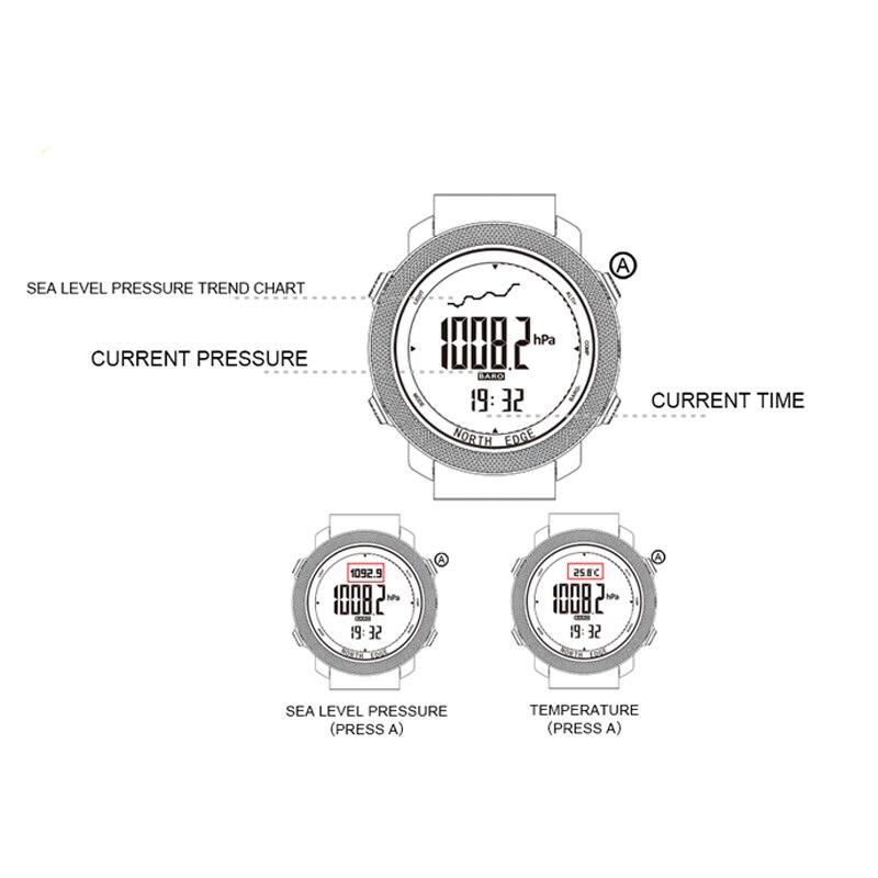 북쪽 가장자리 남자 시계 스포츠 군사 디지털 시계 기압계 고도계 시계 남자 나침반 방수 시계 스포츠 디지털 시계-에서디지털 시계부터 시계 의  그룹 3