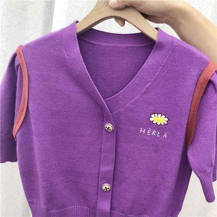 Alphalmoda 2020 primavera feminina moda bordado flor curto camisola com decote em v único breasted pullovers de manga curta jumper