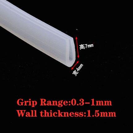 2 Meters U-channel Rubber Edging Sealing Strip Shower Door Glass Durable Multiple Size Sealing Tape Edge Guard Weatherstrip Tool DUO ER Length : 2M, Width : 10x4mm