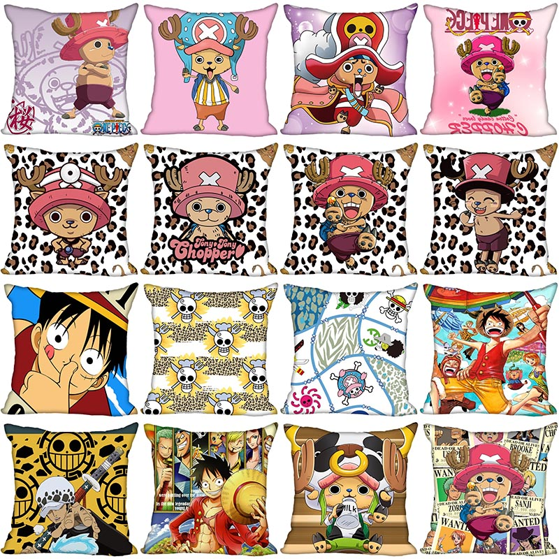 One Piece Tony Tony Chopper Pillow Case For Home Decorative Pillows Cover Invisible Zippered Throw PillowCases 40X40,45X45cm