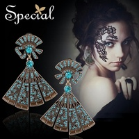 Special Brand Fashion Drop Earrings Exotic Ear Clip Rhinestones Big Earrings Vintage Jewelry Gifts for Women S1621E