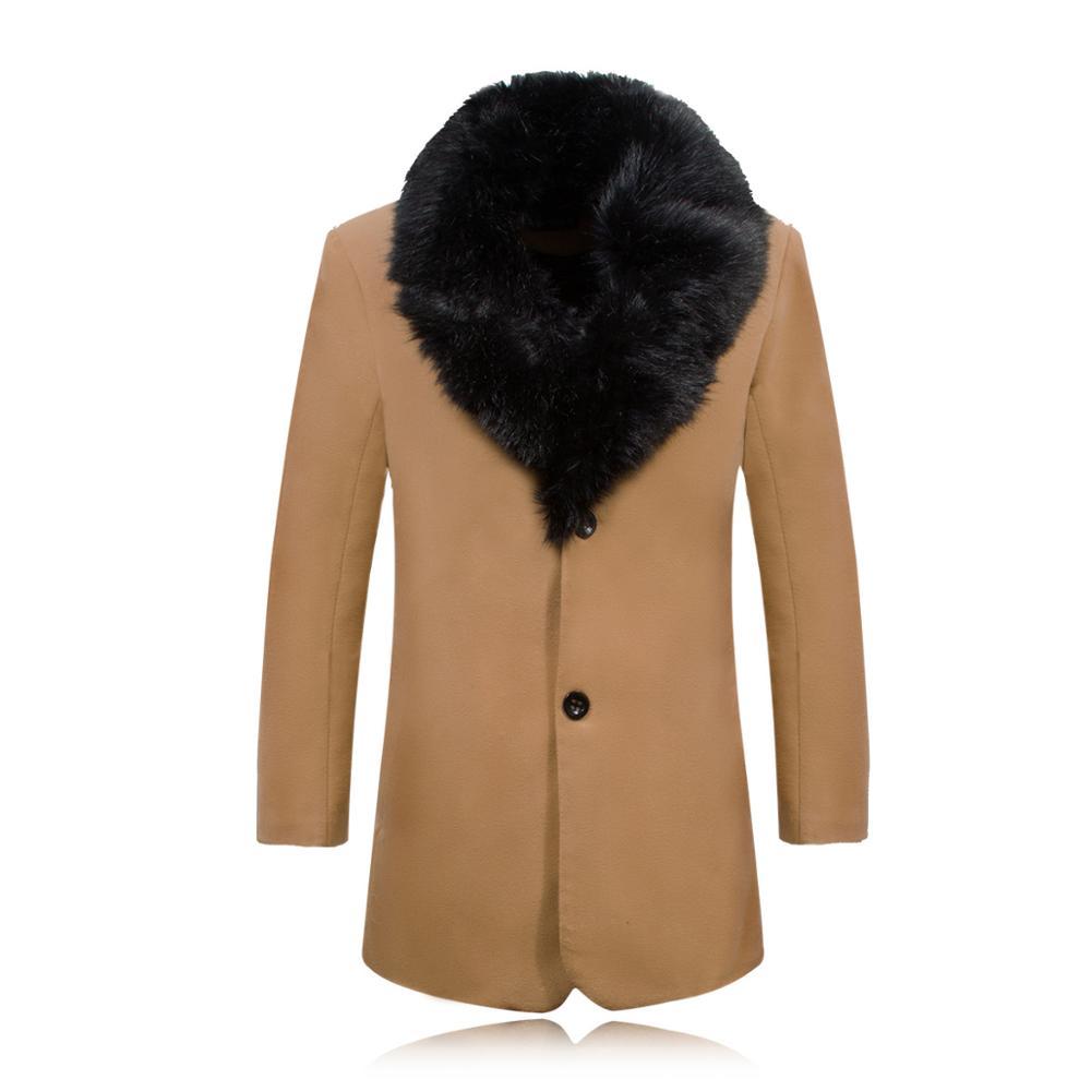 Winter Wool Jacket Men Thicken Business Casual Woolen Coats Single Breasted Warm Male Wool & Blends Jacket 3XL