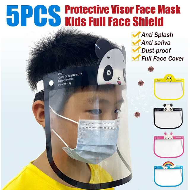 5pcs Transparent Face Shield For Kids Fog-proof Adjustable Dust-proof Protective Rotatable Head-Mounted Full Face Masks
