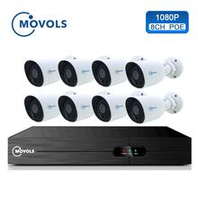 Movols 8CH 1080P POE NVR Kit H.265 Security Camera System 2.0MP IR Indoor Outdoor CCTV 8PCS POE IP Camera Video Surveillance Set стоимость