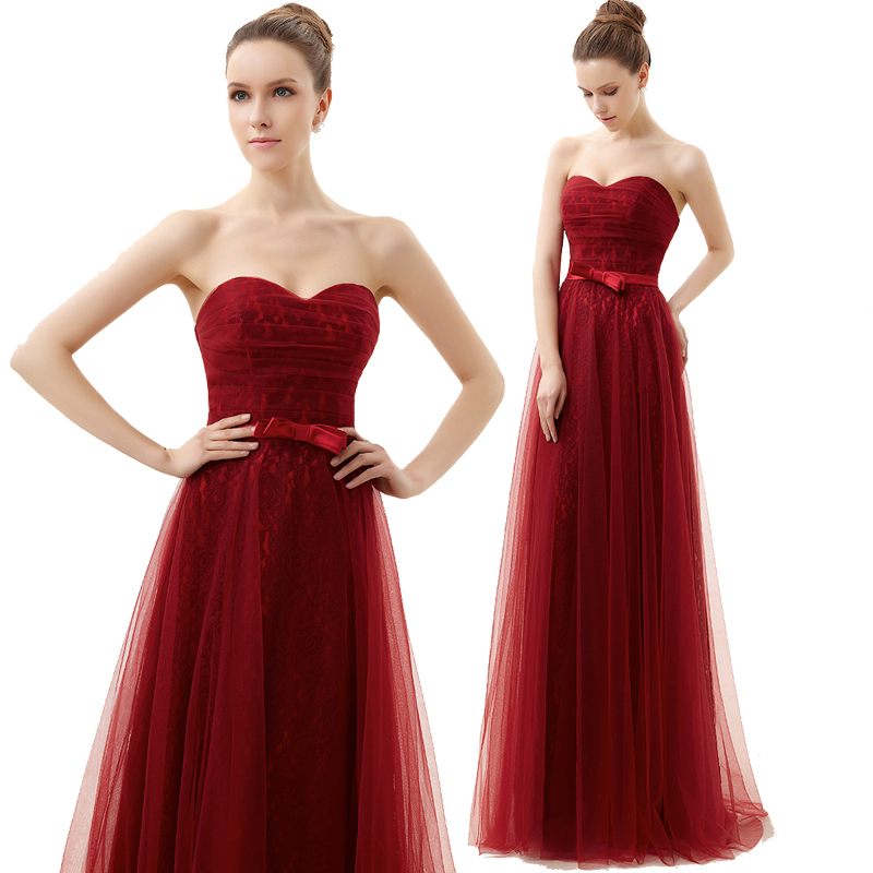 Vestidos New Hot Sexy Sweetheart Red Long Lace Formal Gowns 2018 Prom Party Gown Bow Sashes Tulle A-line Bridesmaid Dresses