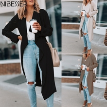 NIBESSER Fashion Brand Lapel Collar Windbreaker Women 2019 New Style Solid Color Cardigans Long Slee