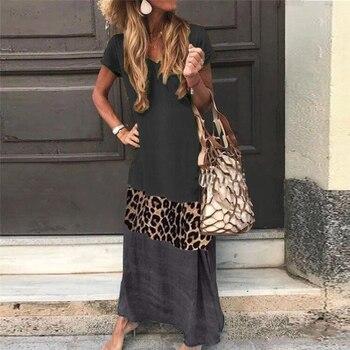 Verão 2019 novo popular curto-mangas compridas impresso v-neck vestido longo solto colisão leopardo impressão costura vestidos casuais