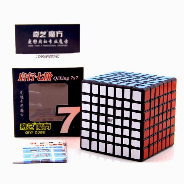 Qiyi Mofangge QiXing Cubo de magia negra sin pegatinas, Cubo de 7x7x7, rompecabezas de 7 capas, juguetes educativos profesionales para niños, regalo