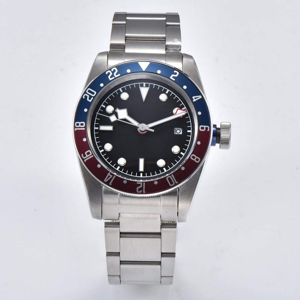 GMT Automatic Mens Watch 3804 GMT Movement Stainless Steel Case And Steel Bracket Black Sterile Dial BAY-01