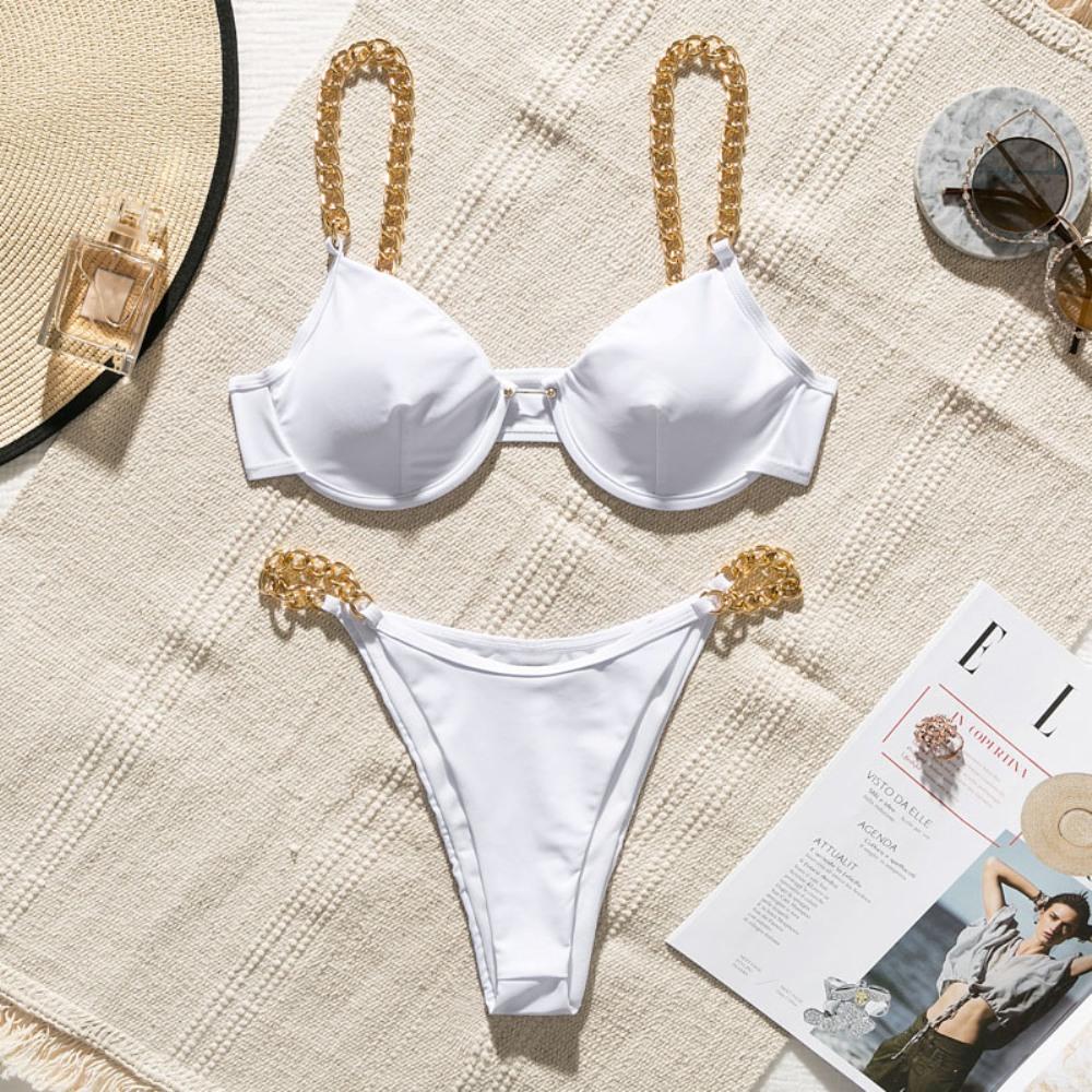 Yisiman, сексуальное бикини с кольцами, набор, железная цепочка, костюм с глубоким v-образным вырезом, белый купальник, женский летний купальник,... 21