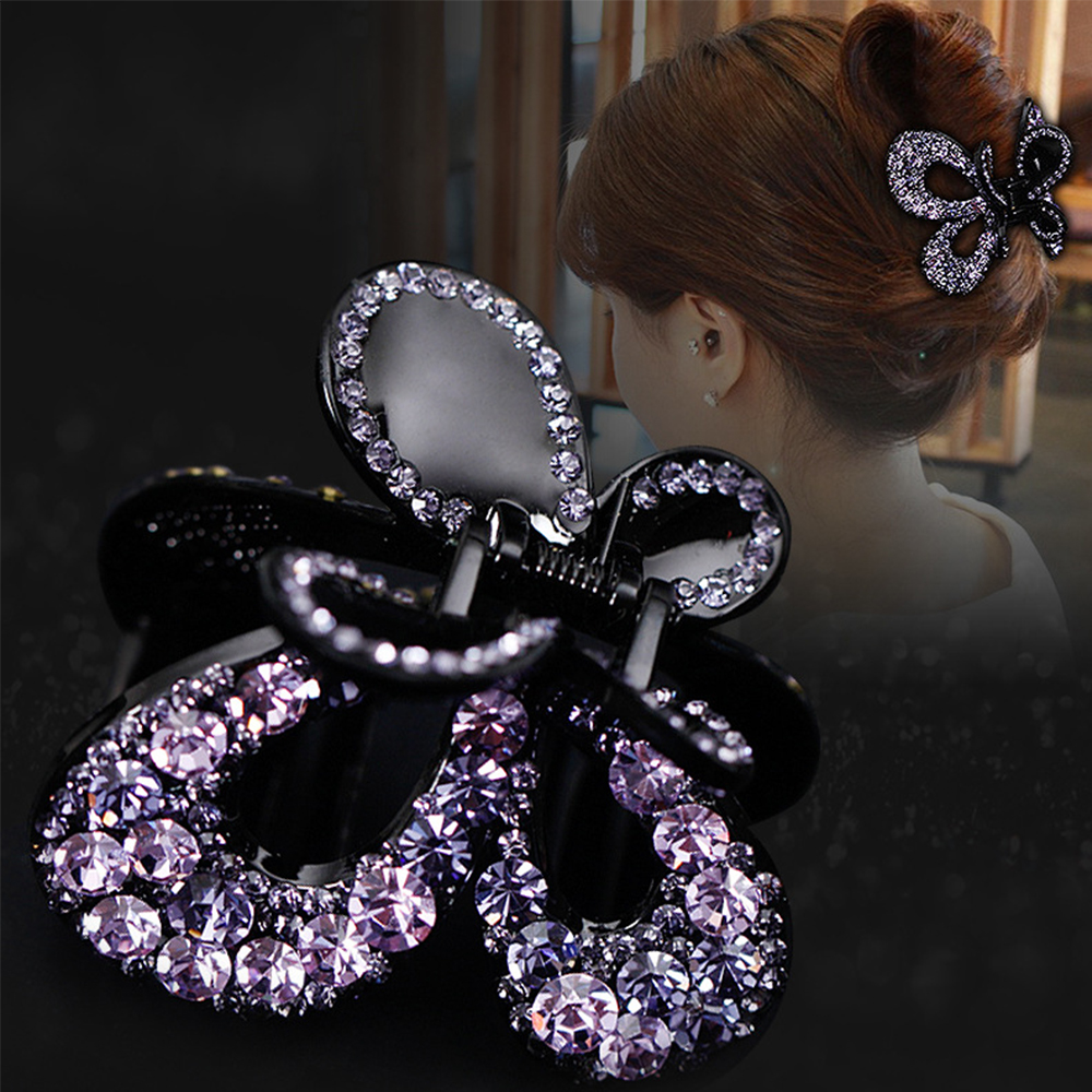 New Women Vintage Butterfly Hairpin Elegant Crystal Hair Claw Crab Colorful Shiny Rhinestone Bow Knot Hair Clips Hair Jewelry
