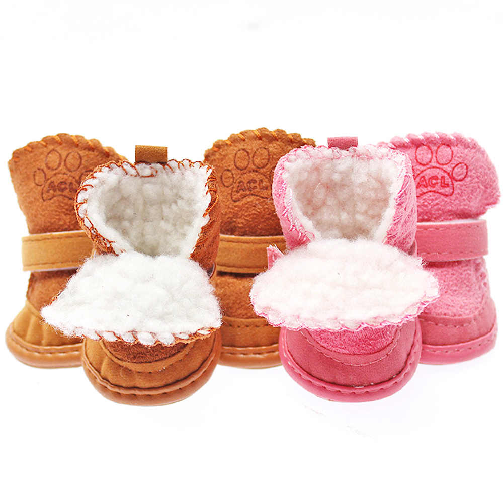 Dog  Cotton Boots 1 Set 4pcs Pet Winter Warm Shoes Boots Puppy Cotton Blend  Snow Warm Walking Boots Cute Fancy Pet Shoes