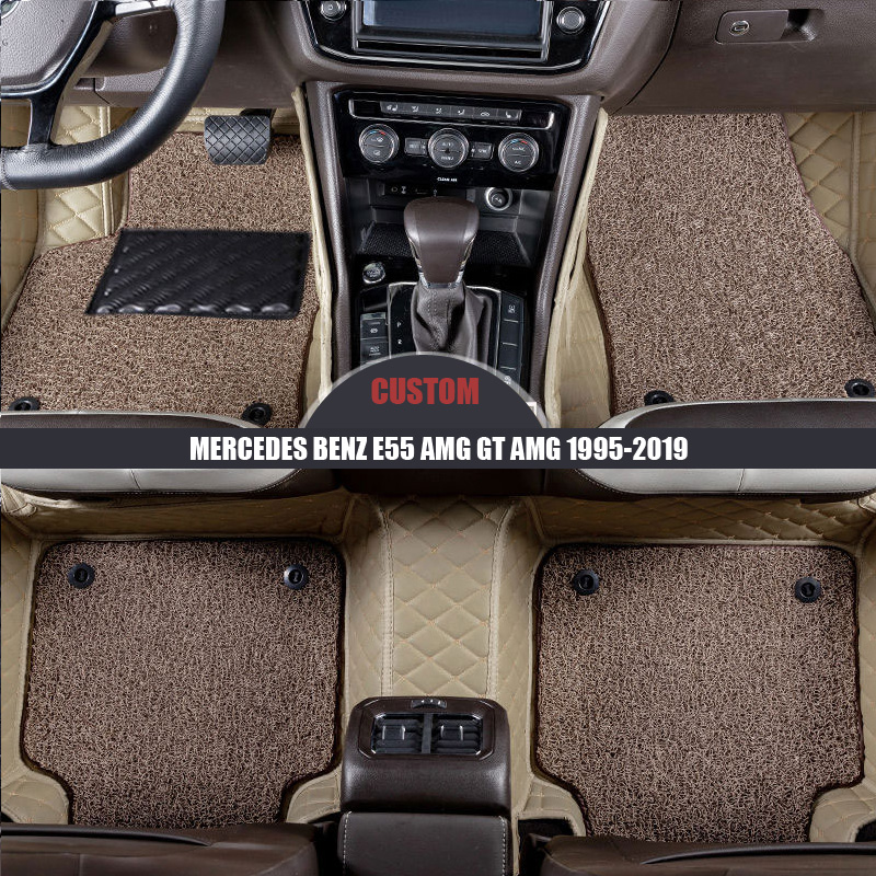 Custom leather Car Floor Mats For MERCEDES BENZ <font><b>E55</b></font> <font><b>AMG</b></font> GT <font><b>AMG</b></font> 1995-2014 2015 2016 2017 2018 2019 foot Pads car accessories image