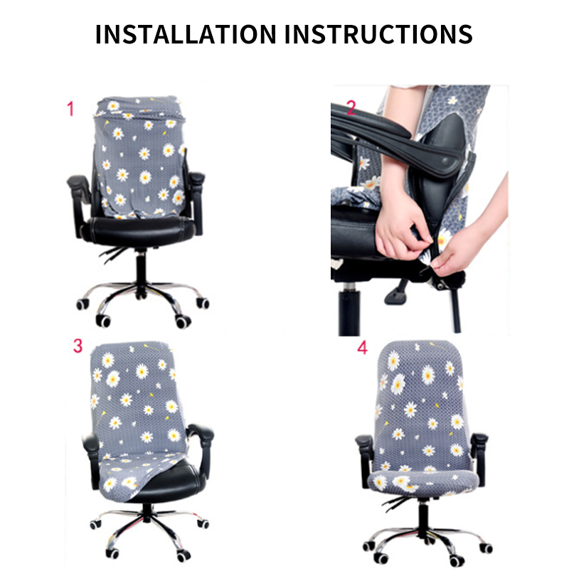 S/M/L Sizes Office Stretch Spandex Chair Covers Anti-dirty Computer Seat Chair Cover Removable Slipcovers For Office Seat Chairs 6