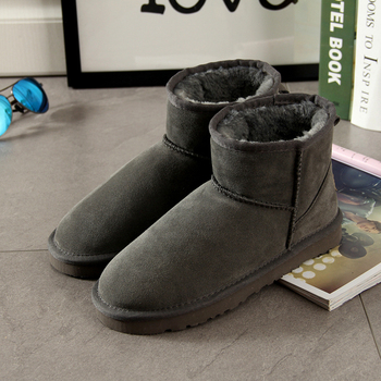 Begocool snow boots women genuine Cow suede leather australia ankle boots warm winter shoes botas grey for cheap B5403 allbitefo natural genuine leather snake texture cow leather women ankle boots fashion sexy motorcycle boots girls winter shoes