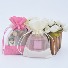 50pcs/lot Candy Color Gift Bags Linen Drawstring Packaging Bag Wedding Party Favor Candy Bags Multicolor Jewelry Pouches 50pcs lot jute bags burlap drawstring gift bag linen storage pouches wedding party favor candy jewelry packaging bags