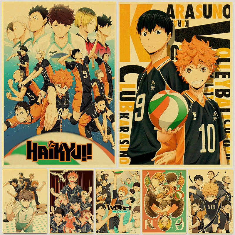 Japanse Cartoon Haikyuu Poster Volleybal Jongen Art Schilderen Kraftpapier Prints Muur Sticker Voor Kamer Decoratie